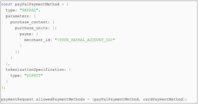 Code snippet required for eCommerce merchants to offer a PayPal payment method on Google Pay